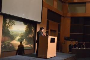 研修生を激励する台北駐福岡経済文化弁事処・戎義俊処長