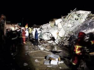 トランスアジア航空(復興航空)GE222便が馬公空港付近に墜落(写真提供:中央社)