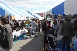 屋台では台湾料理やタピオカミルクティーなどが売られていた