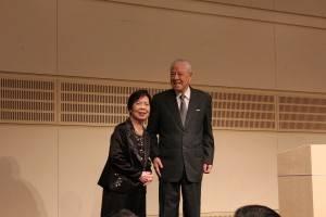 東京公演会にて。曾文恵夫人と李登輝氏