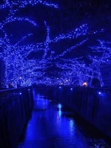 站在橋上便可拍到宛如藍色隧道般的景色