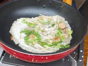 牡蠣の替わりにマッシュルームを入れた台湾精進料理の「素蚵煎」