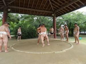 台灣代表隊選手在場邊土俵作賽前練習