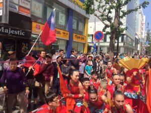 「第25回YOSAKOIソーラン祭り」に参加した文化大学藝術学院ダンス学科の学生ら65人からなる交通部観光局のチーム