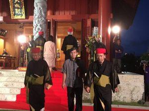 駐那霸辦事處處長蘇啟誠(圖中)參與沖繩久米崇聖會祭孔大典儀式