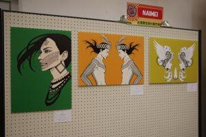畫家NAIMEI在現場販售以原住民為主題的繪畫作品
