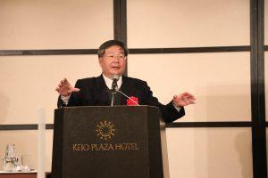 成功大學法律系教授許忠信以「川普新政權對台灣政治、經濟的影響」為題在日發表演講